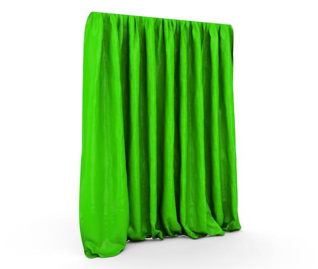 Rideaux verts. 3d illustration isolé sur fond blanc