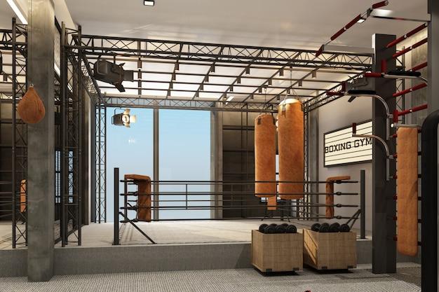 Ring de boxe gymnase de boxe avec une formation d'équipement dans le style loft et le tapis de sol en rendu 3d