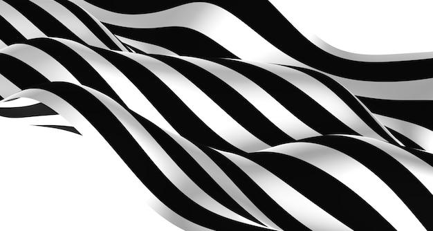 Ripple rayures noires et blanches graphiques ondulés simples se déplaçant comme une rivière