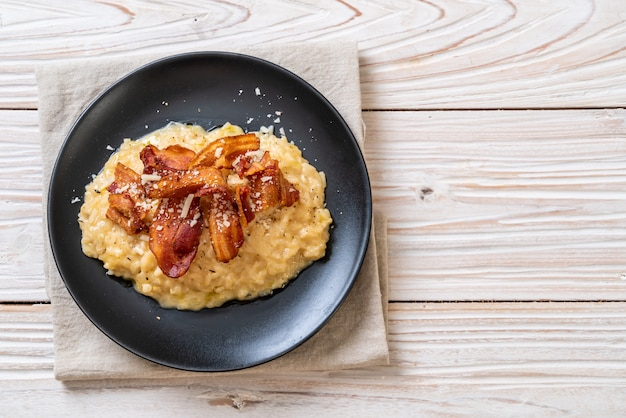 Risotto au bacon croustillant