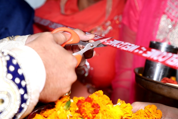 Rituel de mariage indien bienvenue