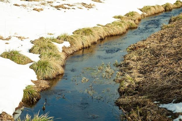 Rivière au début du printemps sur la rive de la neige. la neige fond avec l'arrivée de la chaleur près des berges de la rivière.