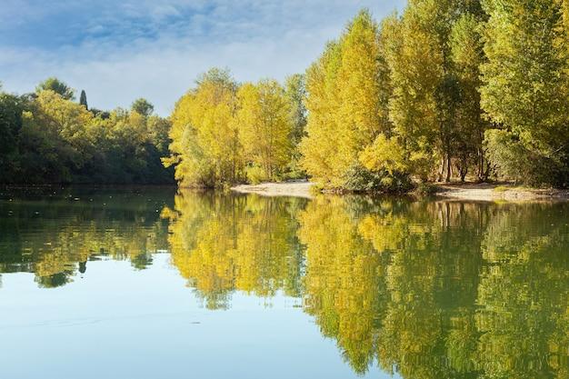 Rivière calme au moment de l'automne avec des feuilles jaunes