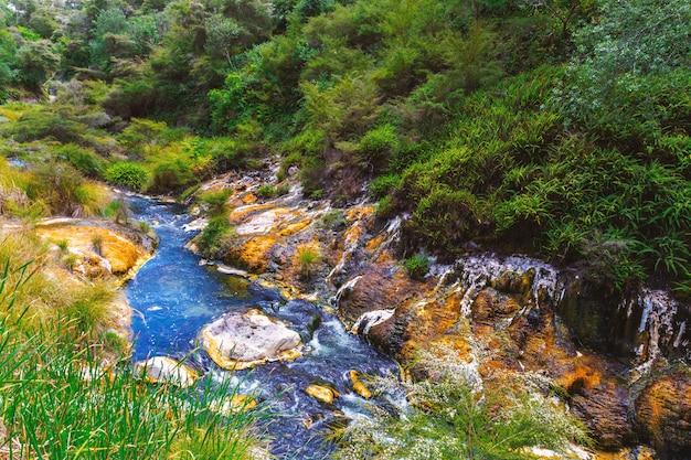 Rivière colorée dans la vallée volcanique de waimangu, nouvelle-zélande