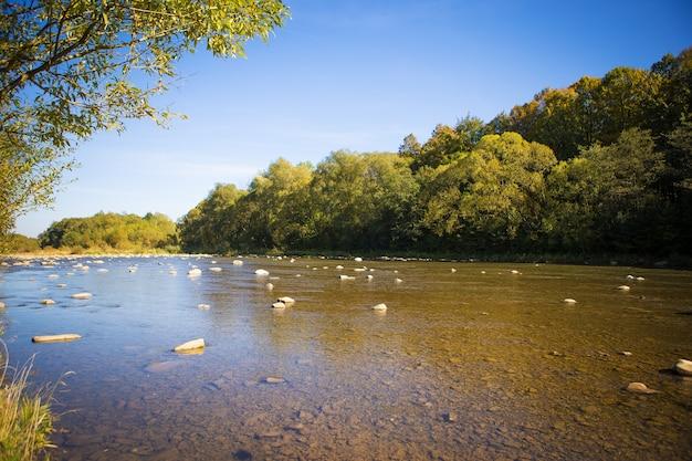 La rivière coule à travers les montagnes des carpates