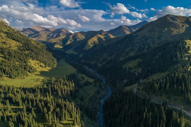 Rivière dans une gorge de montagne, photographie aérienne