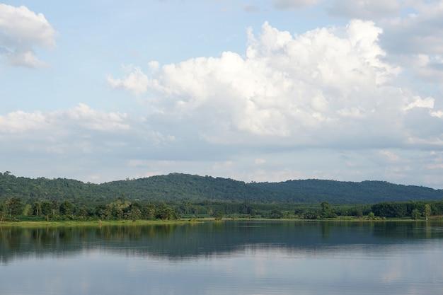 Rivière fond montagnes ciel nuages ombre sur la surface de l'eau