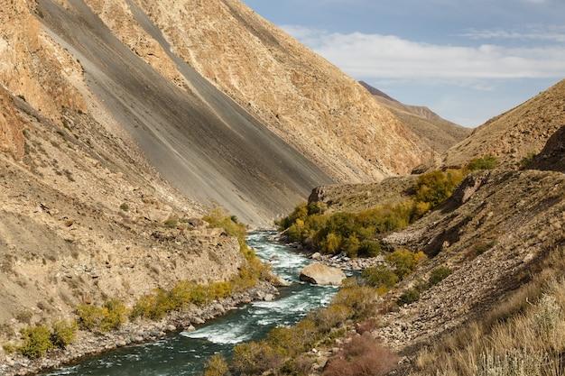 Rivière kokemeren, rivière de montagne dans la région de naryn au kirghizistan
