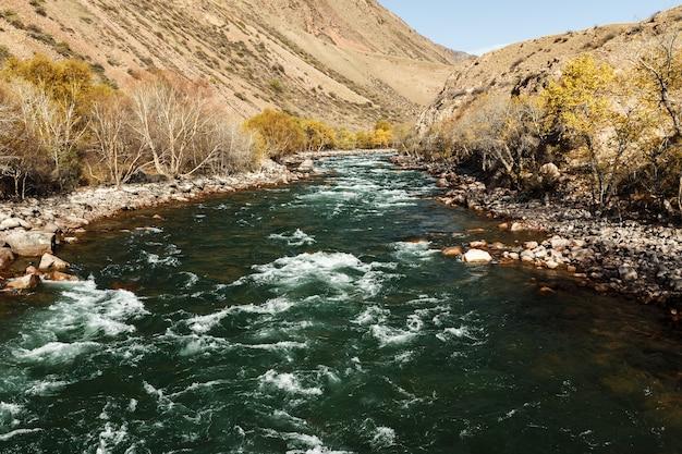 Rivière kokemeren, rivière de montagne orageuse dans la région de naryn au kirghizistan