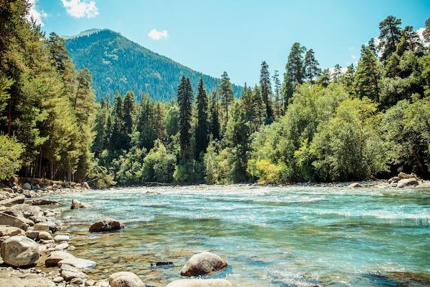 Rivière de montagne dans les montagnes sans fin du caucase du nord une journée ensoleillée ciel bleu montagnes et forêt de conifères