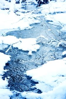 Rivière avec de la neige sur les côtés