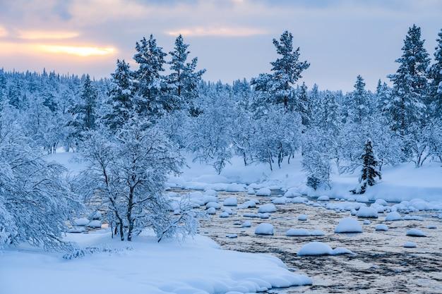 Rivière avec de la neige et une forêt près de couvert de neige en hiver en suède
