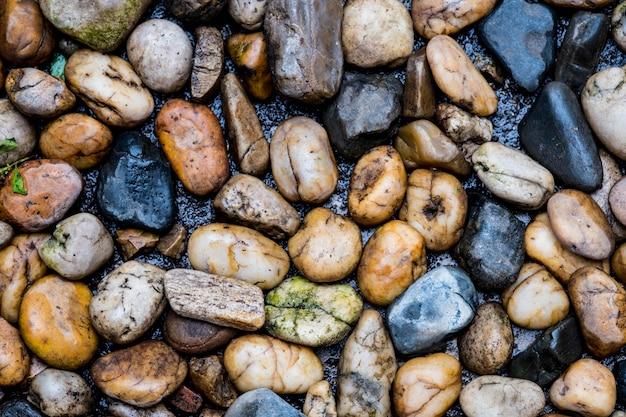 Rivière de pierre, cailloux colorés. petites pierres propres au sol.