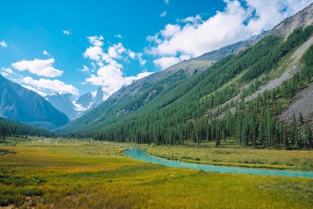 Rivière serpentine dans la vallée avant le magnifique glacier. .