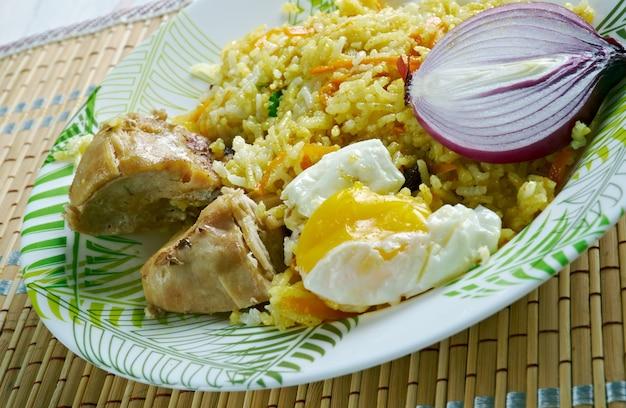 Riz au poulet et oeuf