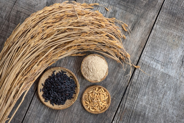 Riz aux baies de riz, son de riz, paddy et oreille de riz sur une vieille surface en bois. vue de dessus, mise à plat.