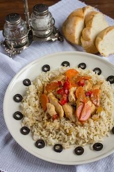 Riz brun au poulet et aux légumes