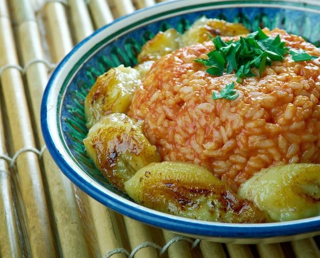 Riz jollof aux plantains frits,cuisine nigériane