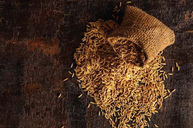 Riz paddy dans des sacs bruns. vue de dessus