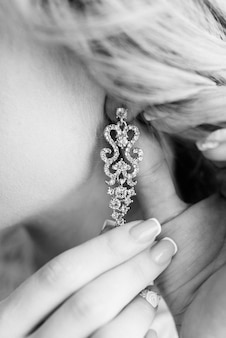 Robes de mariée décoration de mariage, boucles d'oreilles en cristal