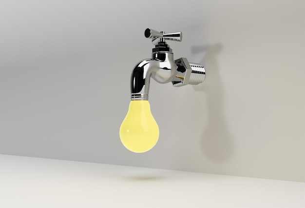 Robinet chrome de rendu 3d avec un jet d'eau isolé sur une illustration 3d blanche.
