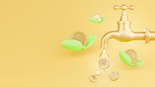 Robinet d'eau avec des pièces d'or et le concept d'économie d'argent