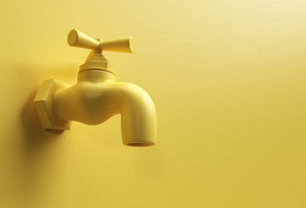 Robinet d'eau de rendu 3d avec un jet d'eau isolé sur une illustration 3d jaune.
