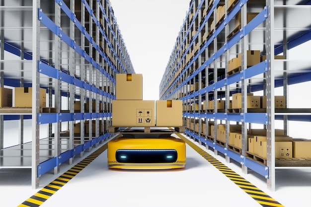 Robot agv travaillant dans un entrepôt, rendu d'illustrations 3d