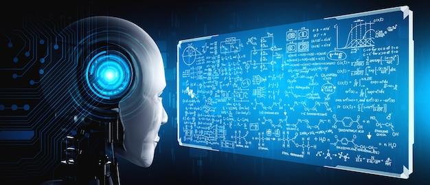 Robot ai humanoïde regardant l'écran d'hologramme dans le concept de calcul mathématique