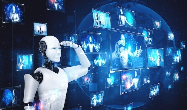 Robot ai humanoïde regardant l'écran d'hologramme montrant le concept de données volumineuses