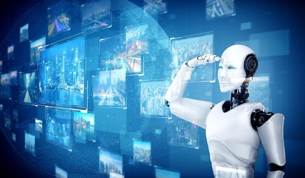 Robot ai humanoïde regardant hologramme