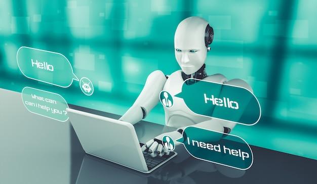 Robot ai utilisant un ordinateur pour discuter avec le client. concept de chat bot