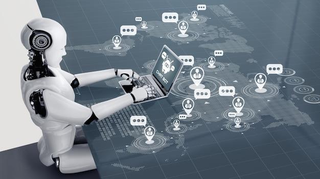Robot ai utilisant un ordinateur pour discuter avec le client.