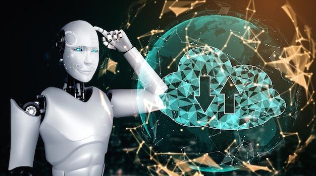 Robot ai utilisant la technologie de cloud computing pour stocker des données sur un serveur en ligne. concept futuriste de stockage d'informations dans le cloud analysé par processus d'apprentissage automatique. illustration de rendu 3d.