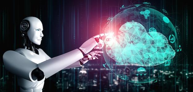 Robot ai utilisant la technologie de cloud computing pour stocker des données sur un serveur en ligne.