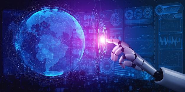 Robot analysant les données de l'entreprise