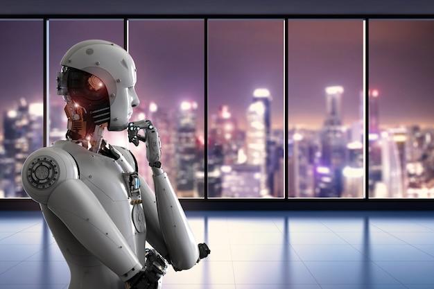 Robot android de rendu 3d pensant au bureau