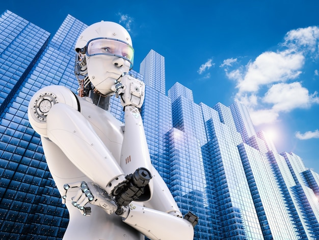 Robot android de rendu 3d pensant en ville