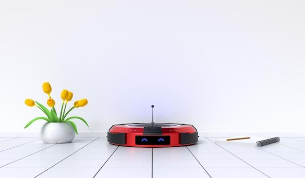 Robot aspirateur dans la pièce prête à travailler, design minimaliste