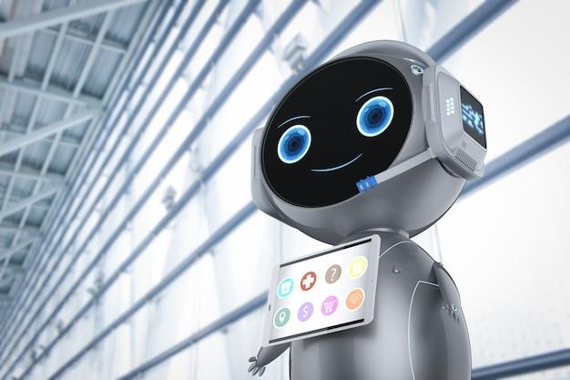 Robot assistant mignon rendu 3d avec écran de tablette