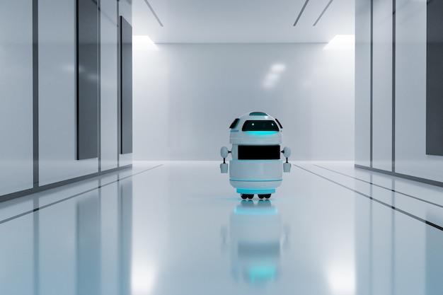 Robot blanc dans une pièce moderne blanche, rendu d'illustrations 3d