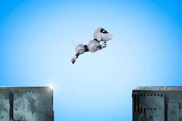 Le robot chien de rendu 3d saute entre les bâtiments