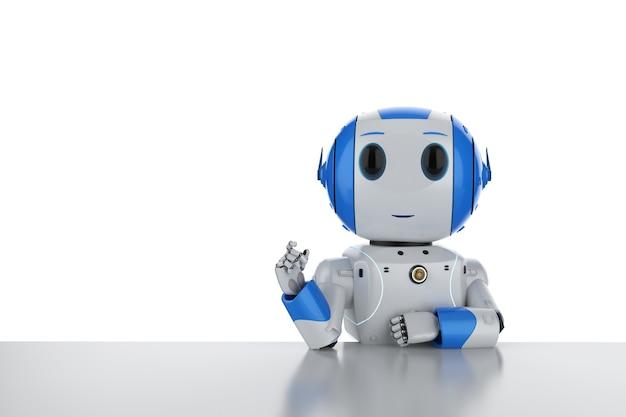 Robot convivial de rendu 3d pense ou calcule sur le bureau