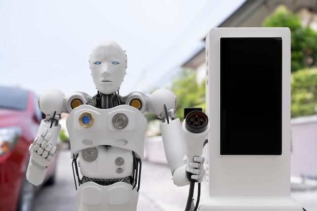 Robot cyber futur humanoïde futuriste industrie de haute technologie garage chargeur de voiture ev recharger le carburant station électrique transport de véhicule futur client de voiture pour le transport automobile automobile