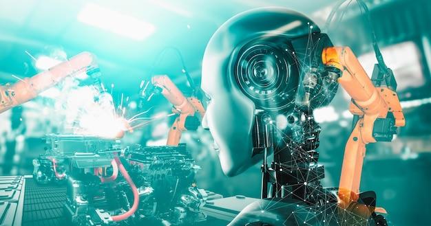 Robot Cyborg De L'industrie Mécanisée Et Bras Robotisés Dans La Future Usine Photo Premium