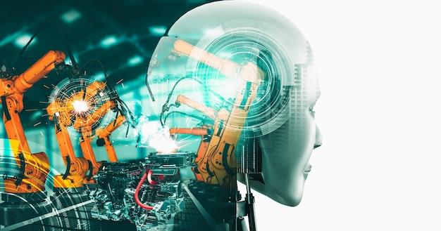Robot cyborg de l'industrie mécanisée et bras robotisés dans la future usine
