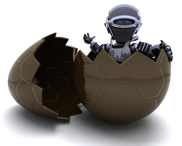 Robot dans un œuf en chocolat