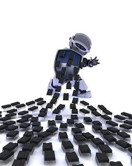 Robot défendant contre une attaque de virus