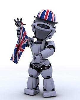 Robot avec flaf uk et chapeau