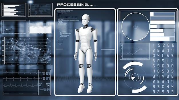 Robot futuriste, intelligence artificielle analyse et programmation cgi big data